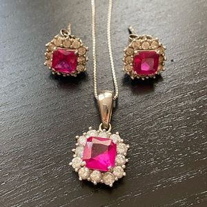 synth ruby and 92.5% silver earring and necklace